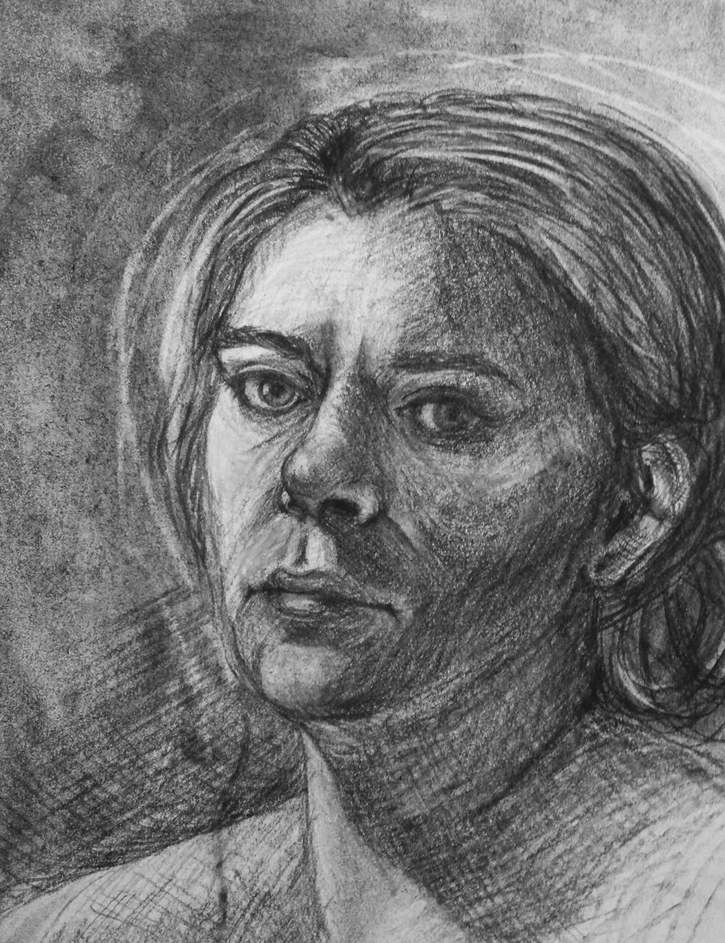 Charcoal Self-Portrait Drawing, Nikoletta Theodoropoulou