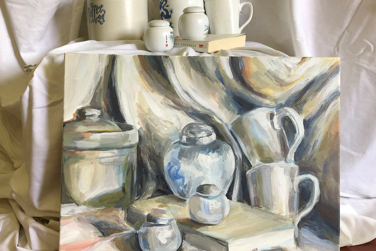 White Acrylic Painting, Cindy Qiao