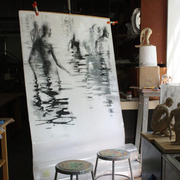 Lithographic crayon drawings, Clara Lieu