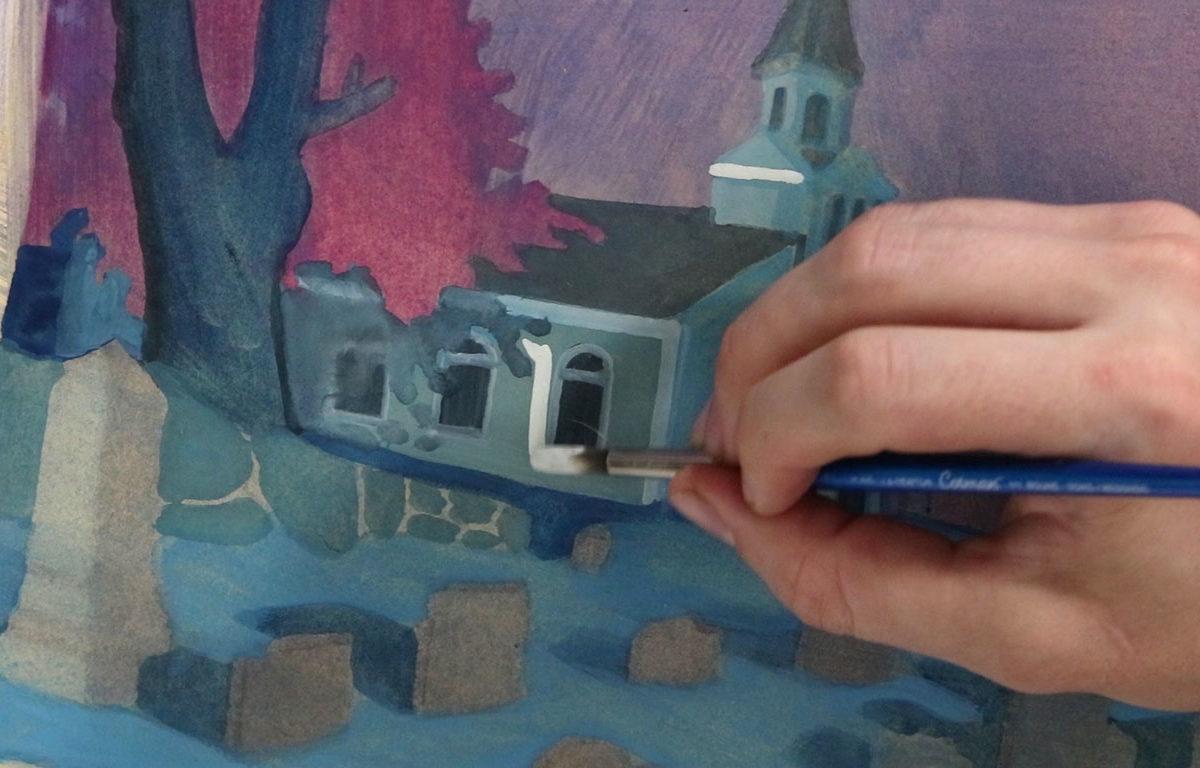 Book Illustration in Gouache in Progress, Alex Rowe