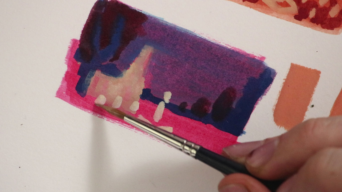 Thumbnail Sketch in Gouache, Alex Rowe
