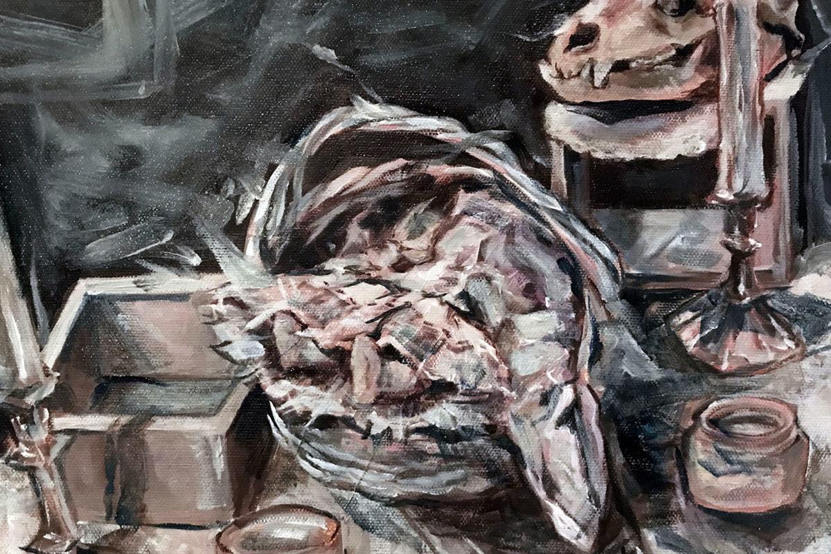 White on White Still Life Painting, Amelia Rozear