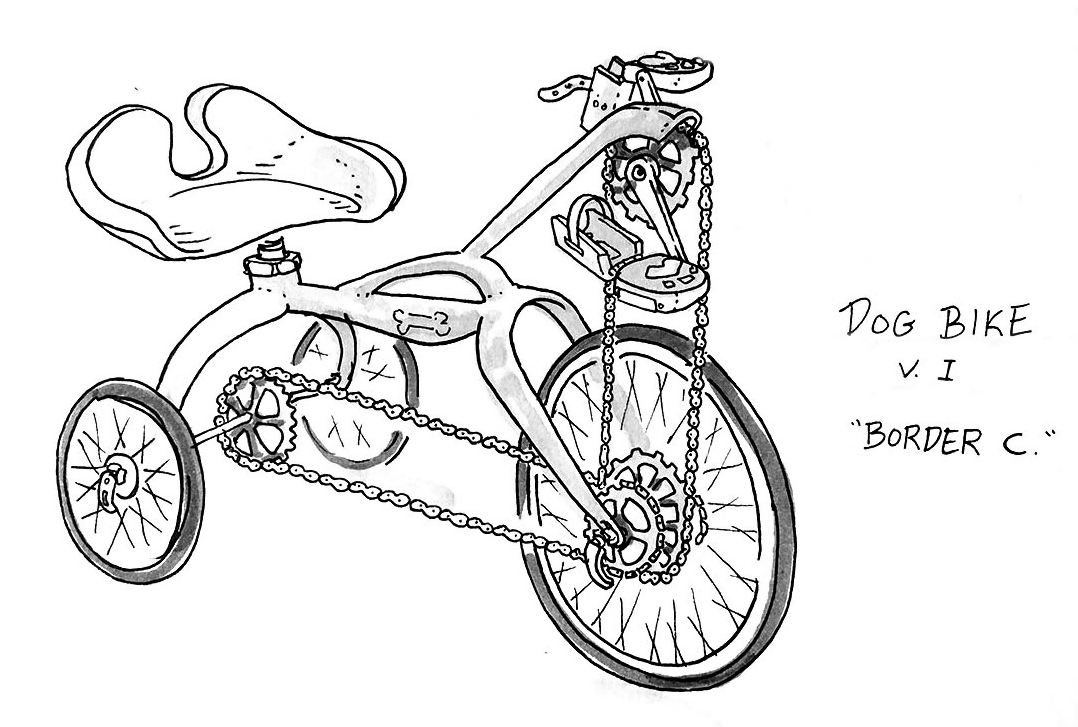 Dog Bike Drawing, Alex Rowe