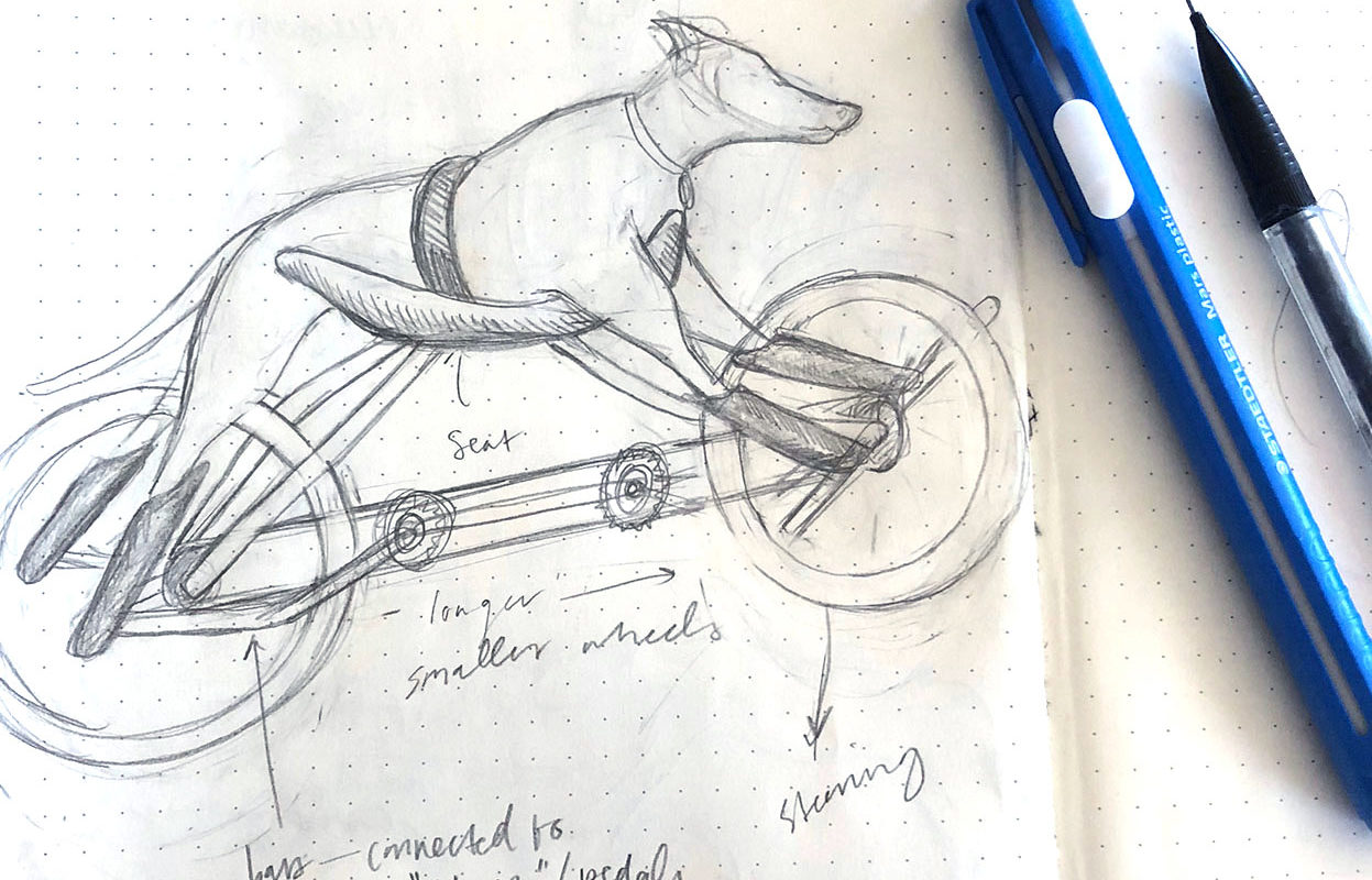 Dog Bike Drawing, Cindy Qiao