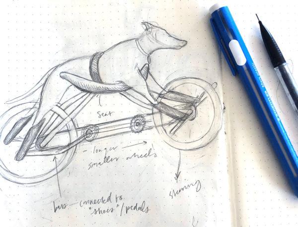 Dog Bike Drawing, Cindy Qiao