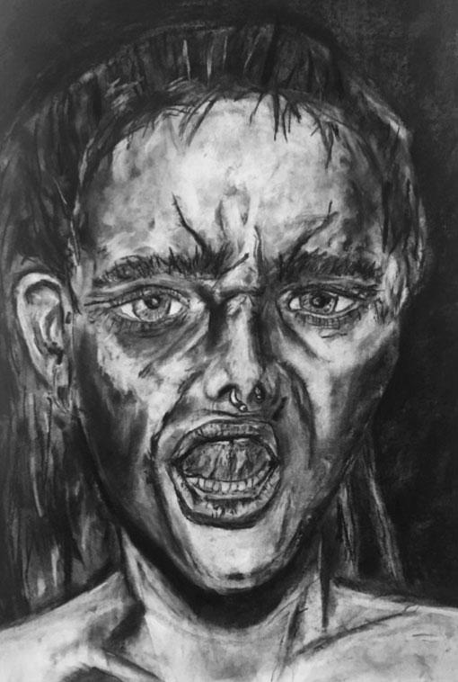 Charcoal Portrait Drawing, Neve Rechan