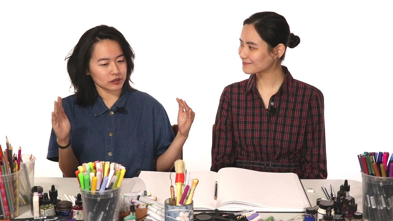 Teaching Artists Cat Huang and Julie Benbassat
