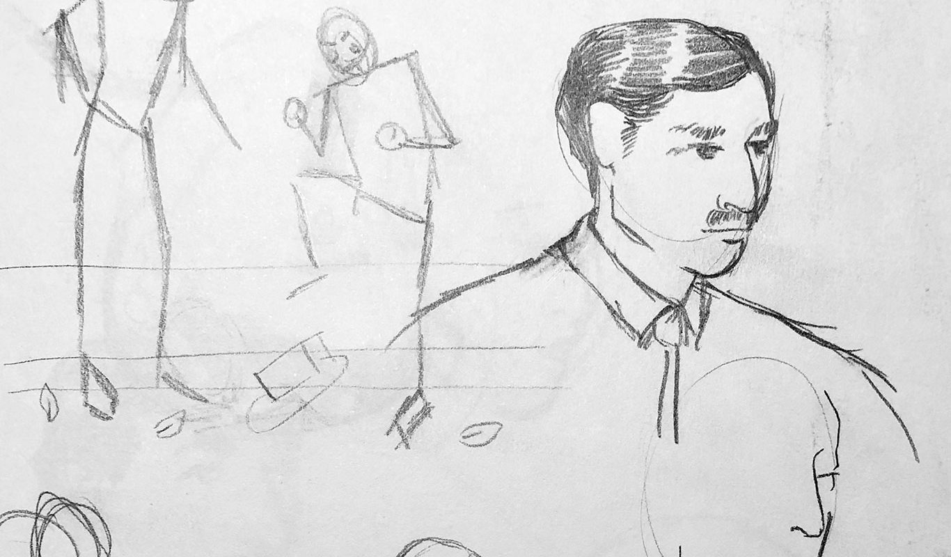 Pen & ink wash illustration, Eiligh Orff