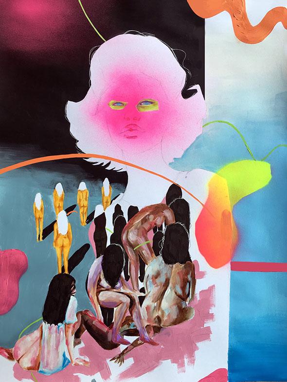 Mixed Media Painting, Chinaza Agbor