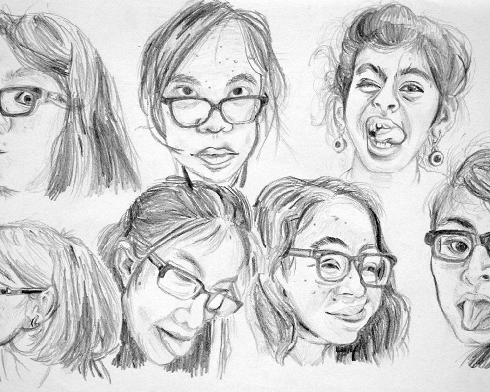 Portrait Drawings, high school art class, art teacher Ross Hines