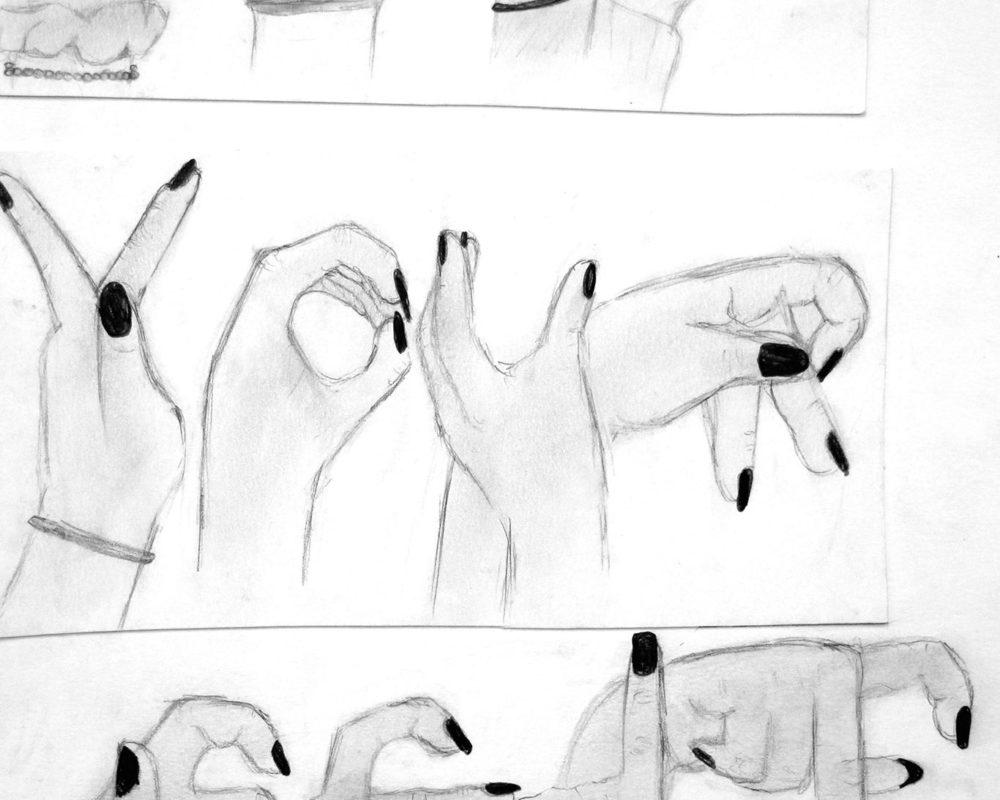 Hands Drawing, high school art class, art teacher Ross Hines
