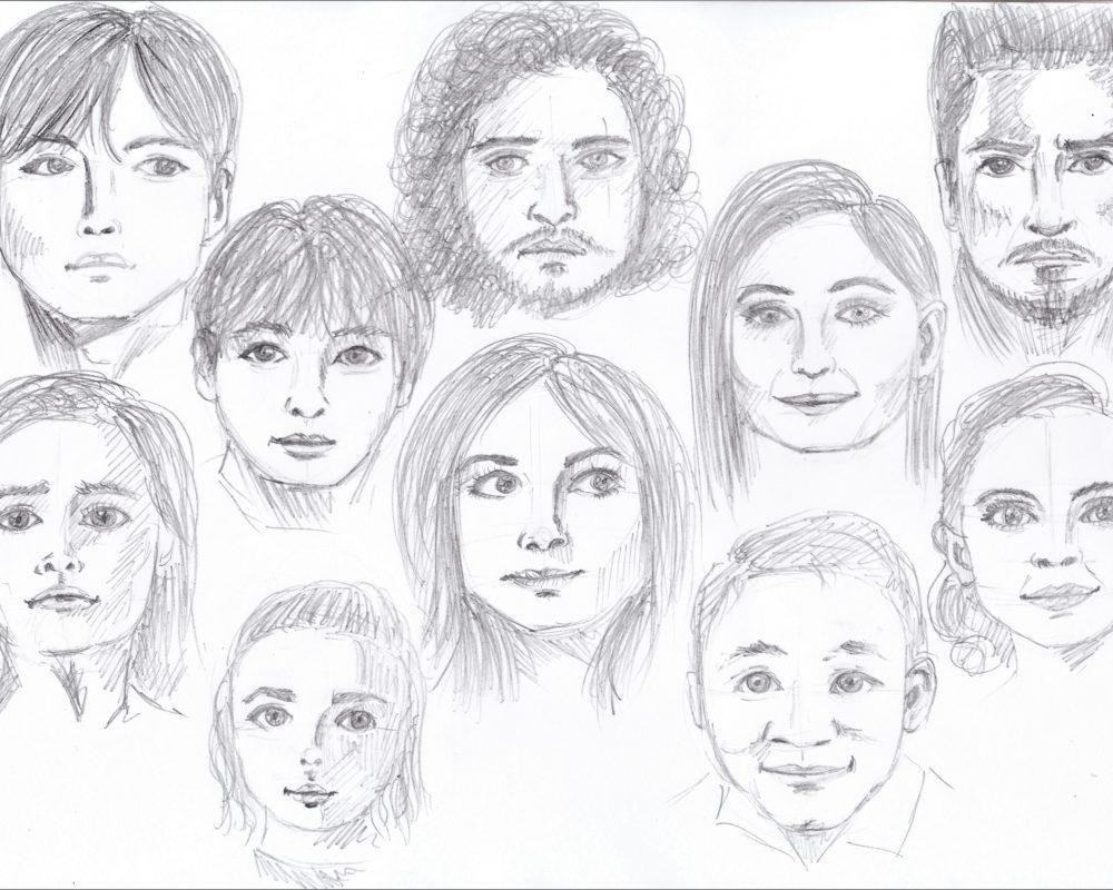 Portrait Head Drawings, Stephanie Dioquino