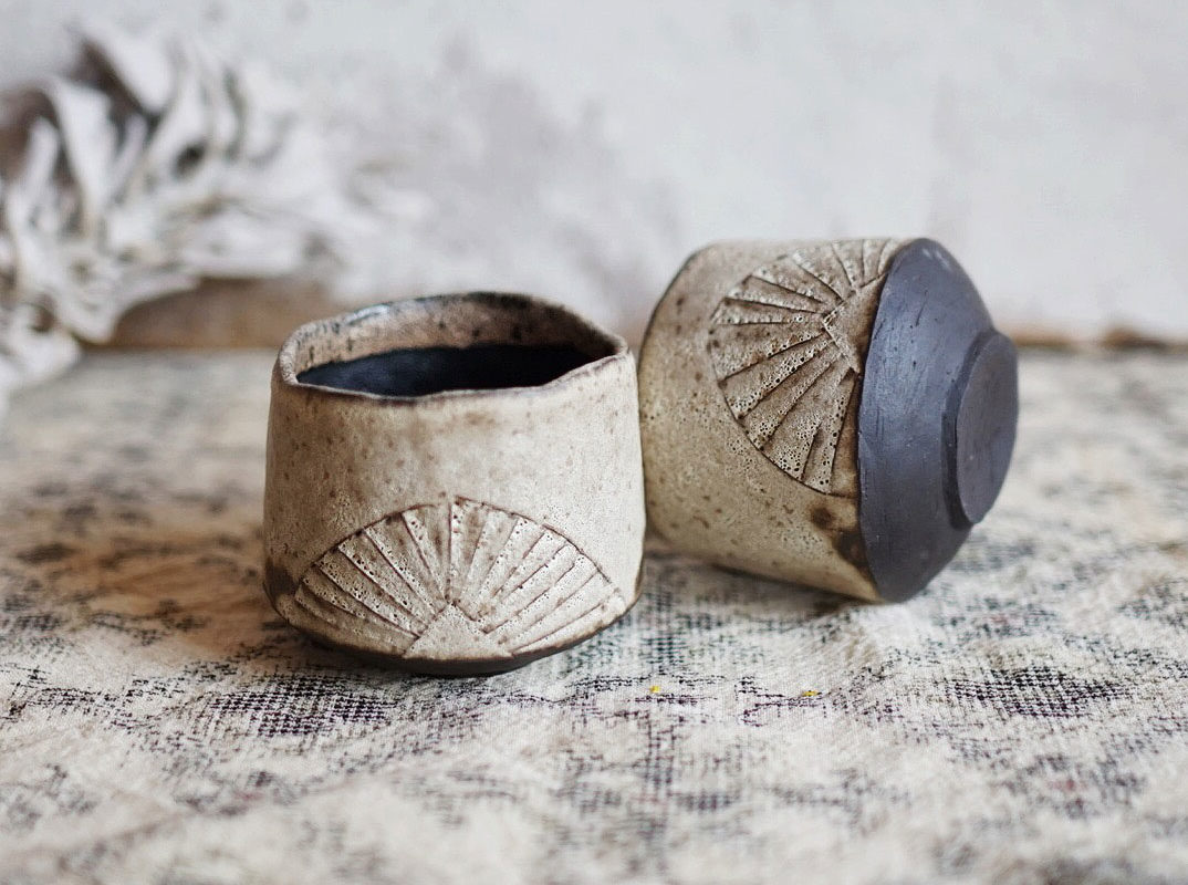 Rustic Sunrise Cups. Ayame Ceramics