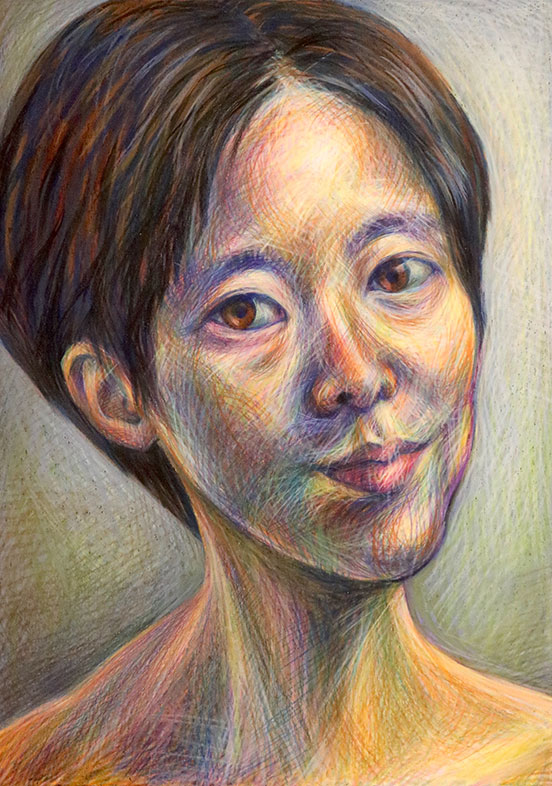 Crayon Portrait Drawing, Hyeji Kim