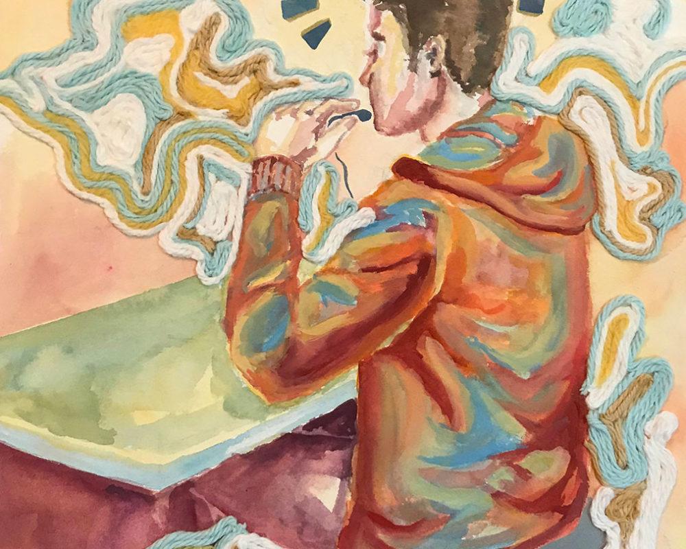 Mixed Media Gouache Painting, Roye Zhang