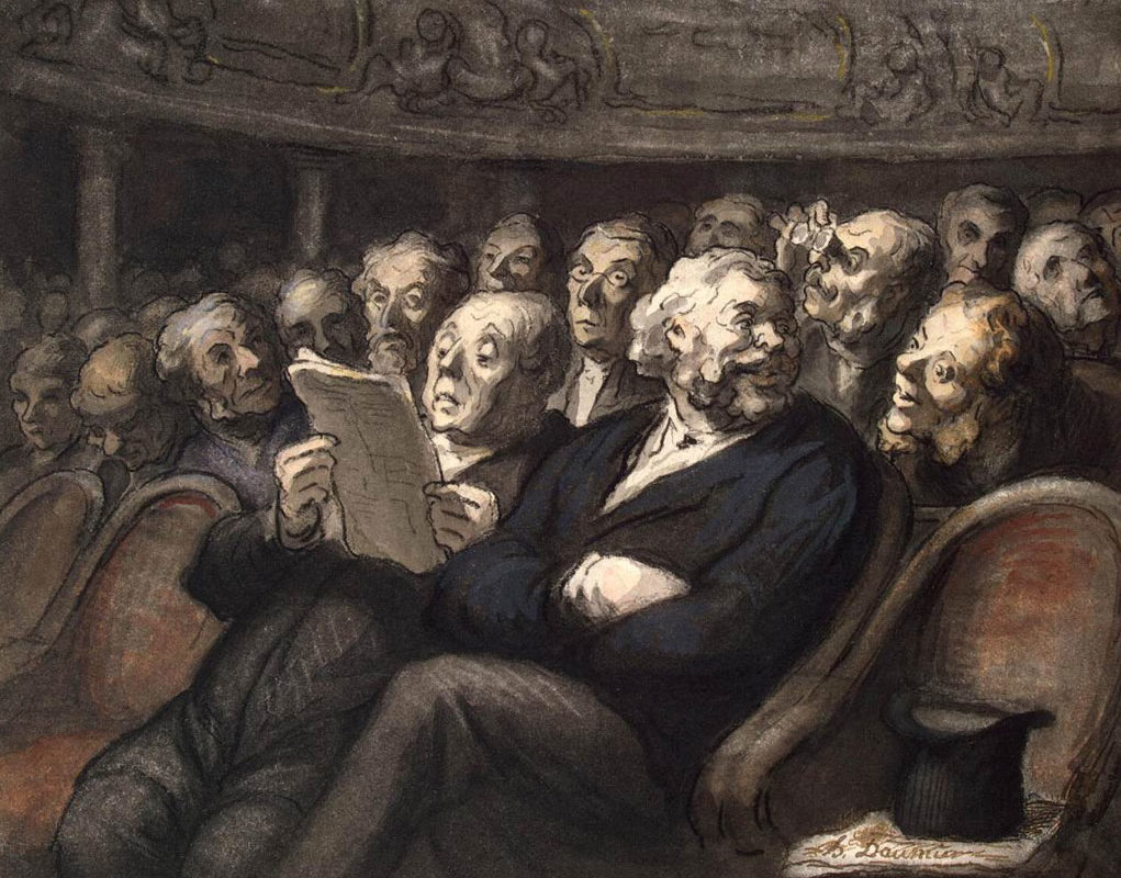 Honore Daumier, Intermission-at-the-Comédie-Française, 1858