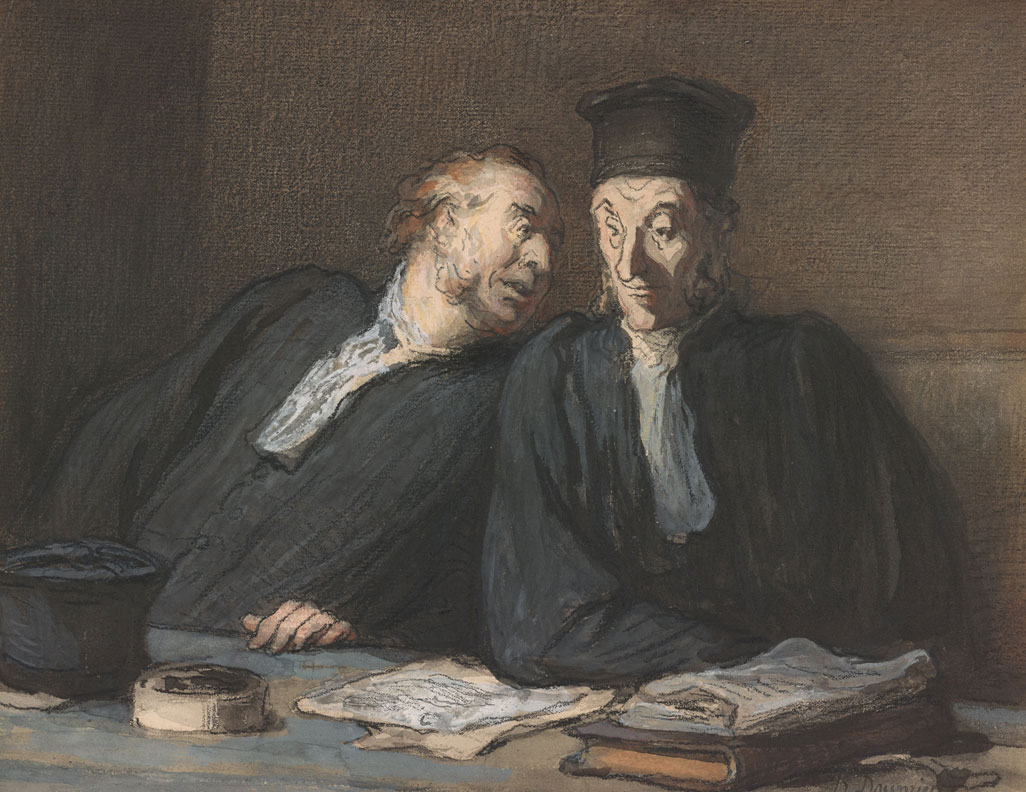 Honore Daumier, Two Lawyers Conversing, 1862