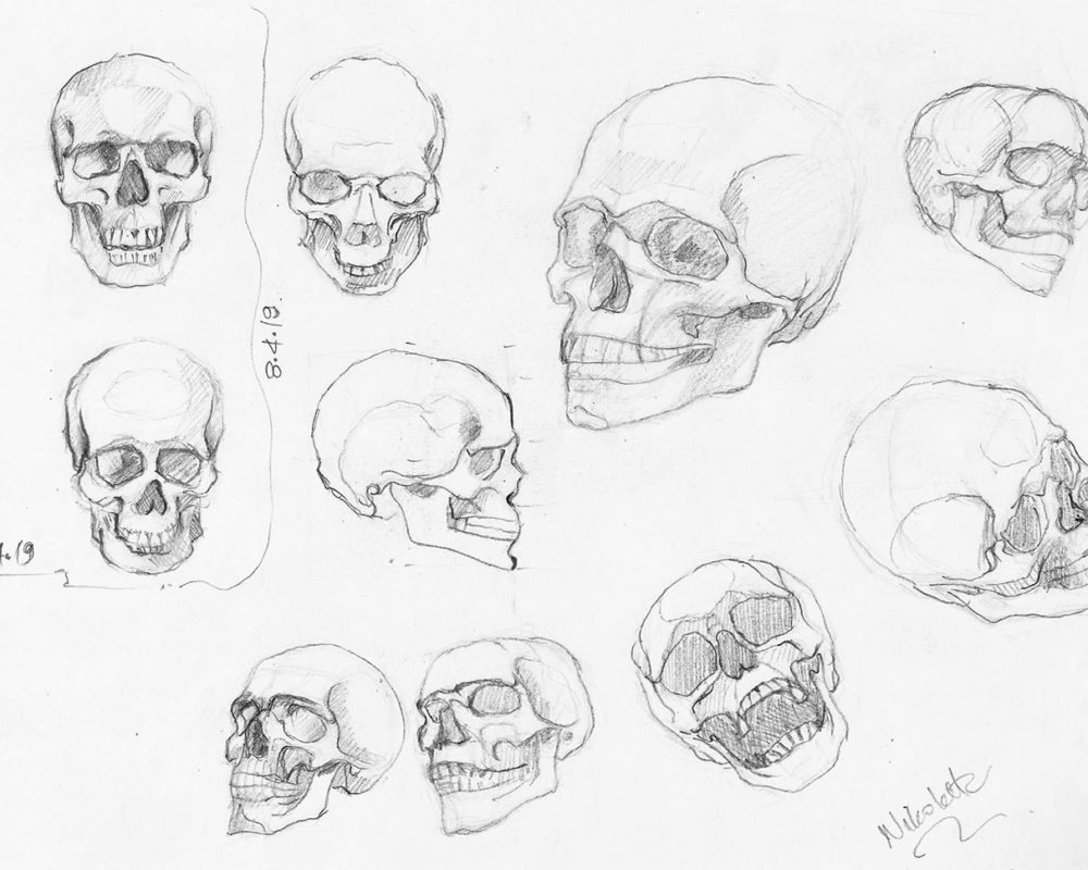 Skull Drawings in Pencil, Nikoletta Theodoropoulou