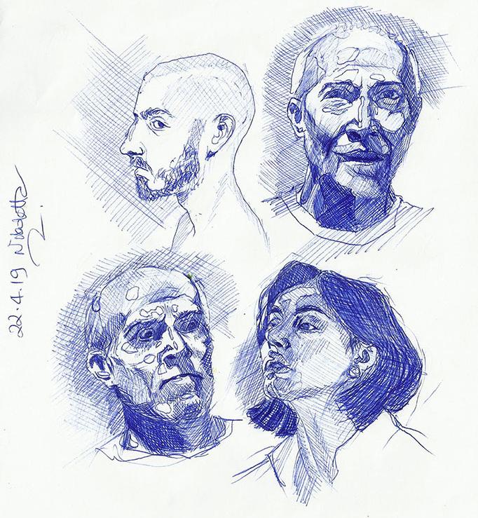 Portrait Drawings in Ballpoint Pen, Nikoletta Theodoropoulou