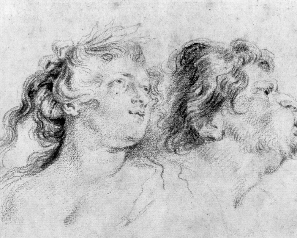 Jean-Antoine Watteau, After Peter Paul Rubens, Head of Marie de Medici and a Hunter Blowing a Horn, 18th century