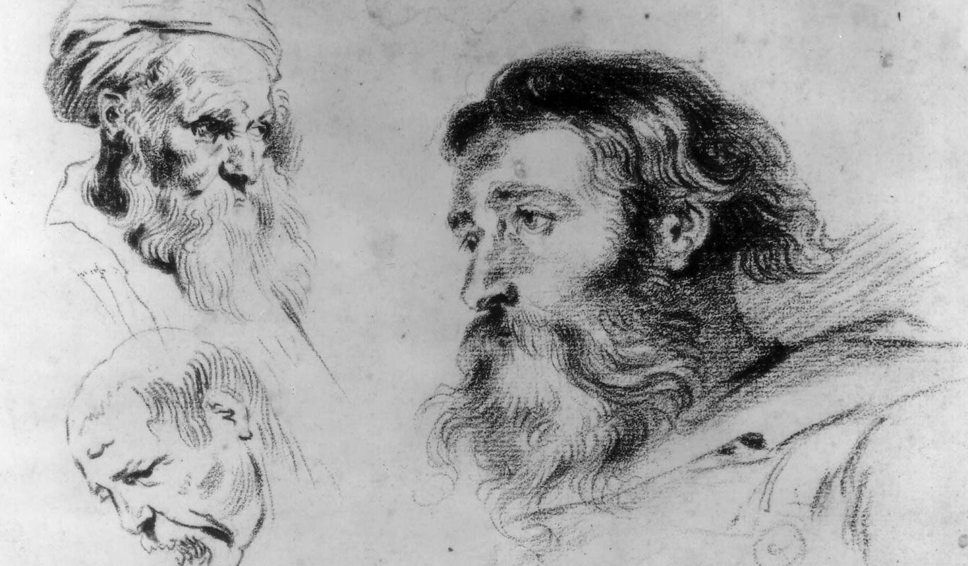 Jean-Antoine Watteau, After Peter Paul Rubens and Anthony Van Dyck, Three Heads, 18th century