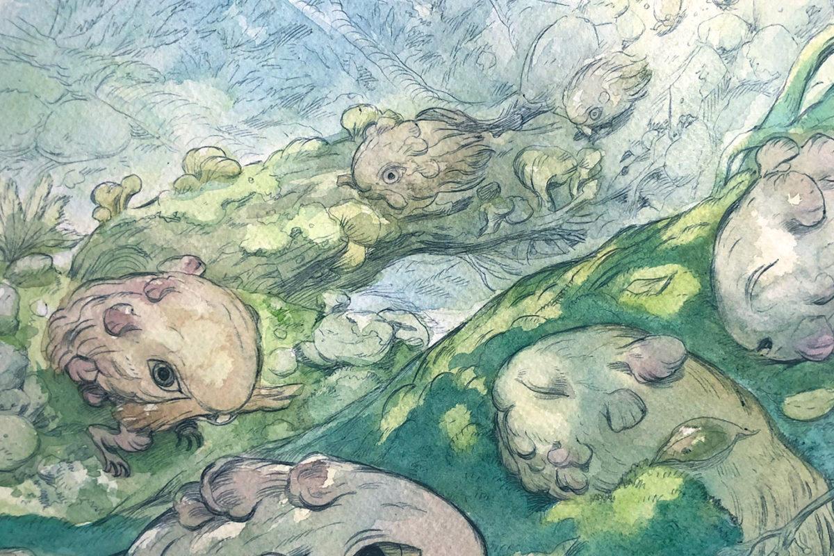 Ballpoint pen & Watercolor Illustration in Progress, Julie Benbassat
