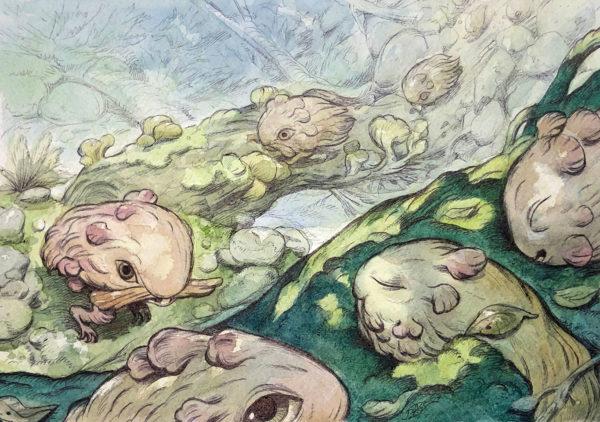 Ballpoint pen & Watercolor Illustration, Julie Benbassat