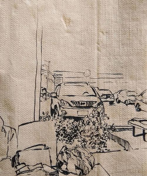 Napkin Drawing, Pigma brush pen, Ivvone Zhou
