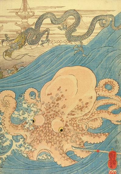 Utagawa Kuniyoshi, Retrieving Treasure Ball from the Dragon Palace