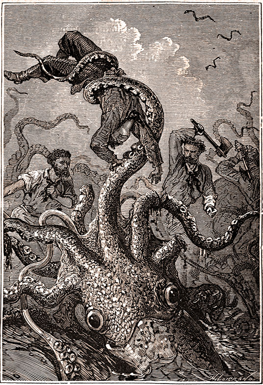 Alphonse Marie Adolphe de Neuville, Squid holding sailor