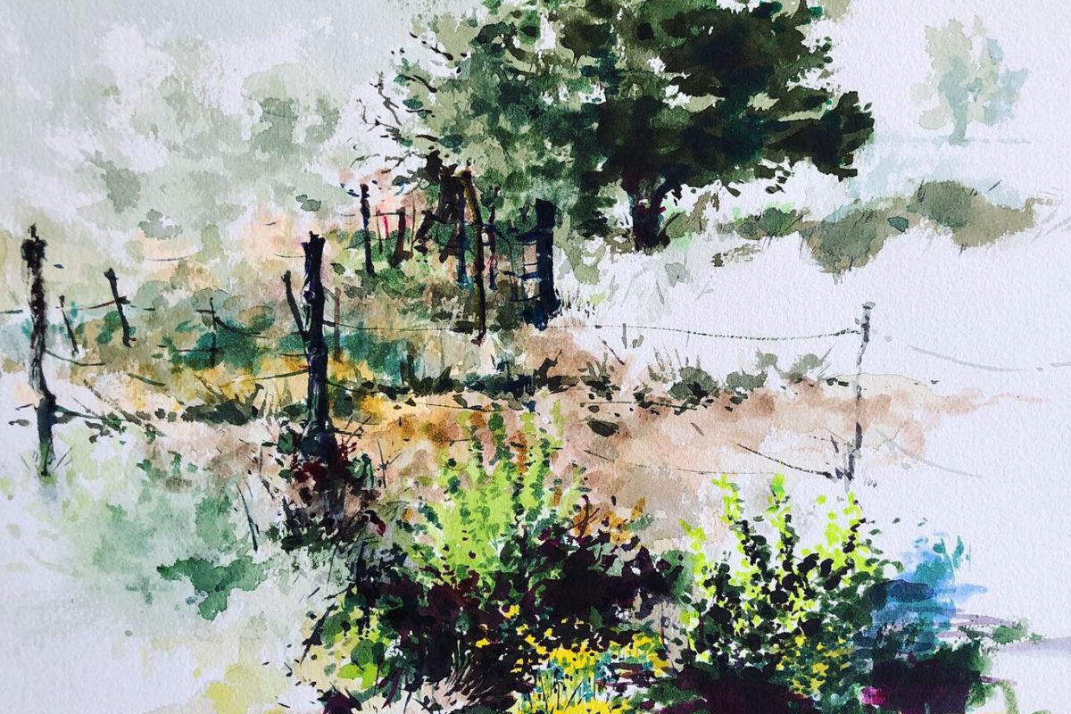 Landscape Watercolor Painting, Clara Lieu