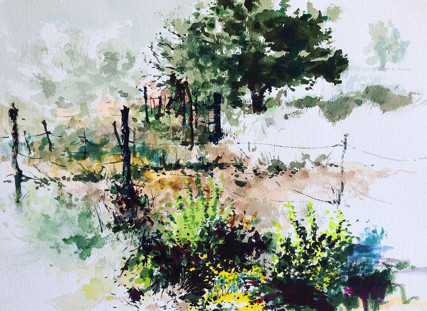 Landscape Watercolor Painting, Clara Lieu