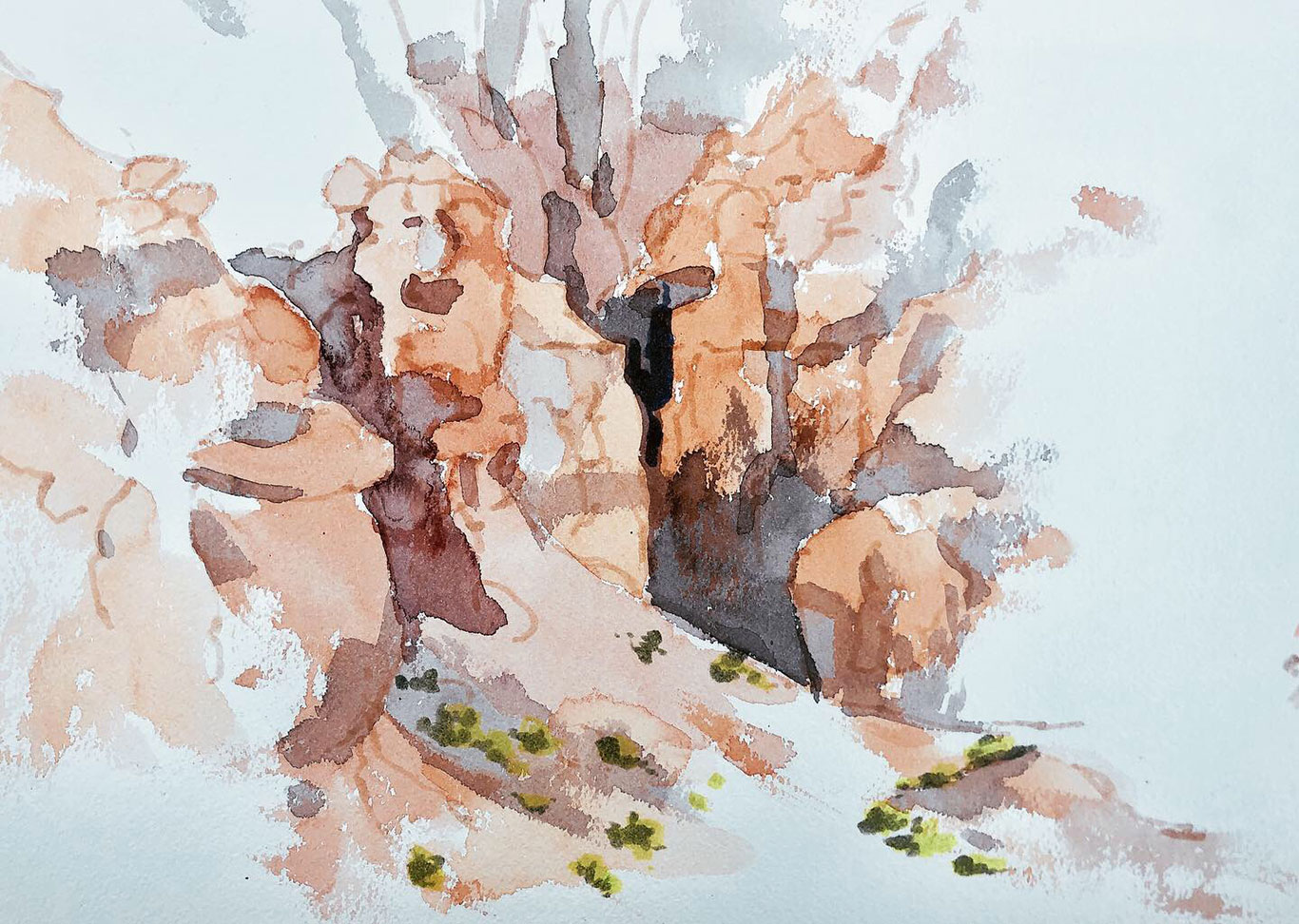 Goblin Valley Landscape Watercolor Painting, (in progress) Clara Lieu