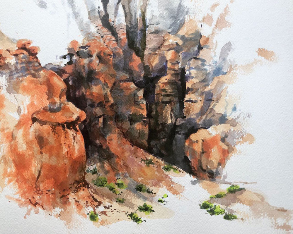 Goblin Valley Landscape Watercolor Painting, Clara Lieu