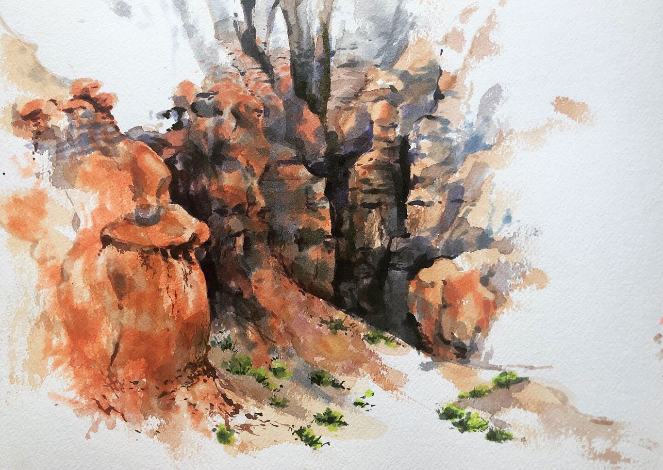 Goblin Valley Landscape Watercolor Painting, Clara Lieu