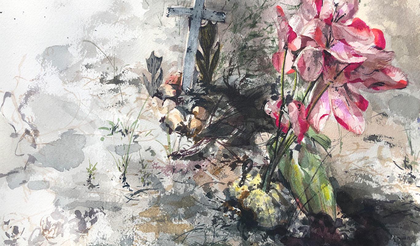 Widtsoe Cemetery Landscape Watercolor Painting, Clara Lieu