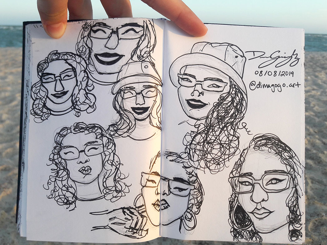 Self-Portrait Cartoons in Pen, Diana Gonzalez