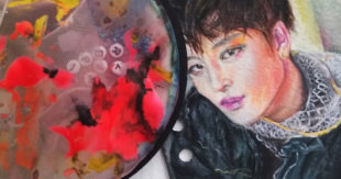 Mixed Media Portrait Drawing, Darinka Arones