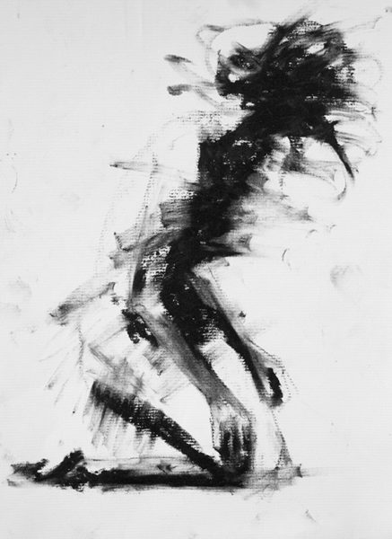 Figure Study, lithographic rubbing ink on charcoal paper, Clara Lieu