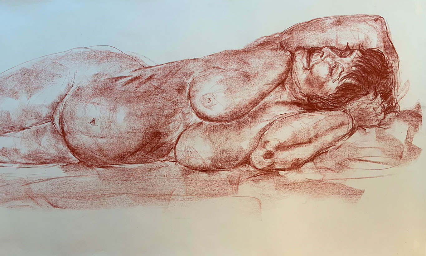 Conte Crayon Figure Drawing, Lizette Dörr