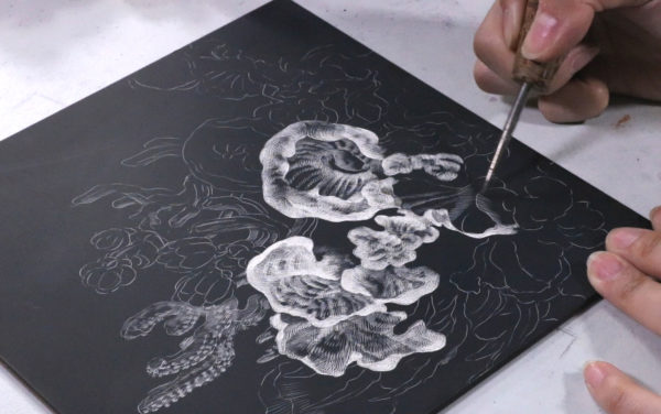 Scratchboard Drawing, Song Kang