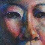 Self-Portrait Crayon Drawing, Clara Lieu