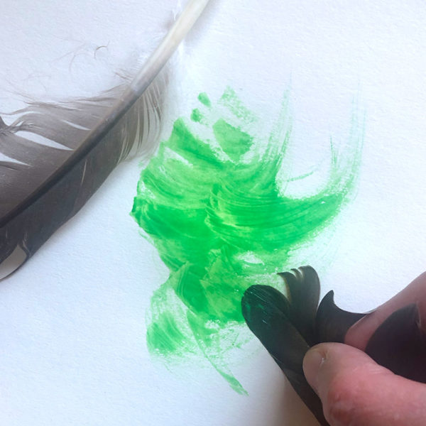 Home Art Supplies: Feather Painting