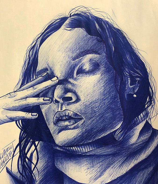 Jorja Garcia, Ballpoint Pen Drawing