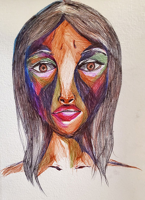 Sumera Khan, Ballpoint Pen Drawing
