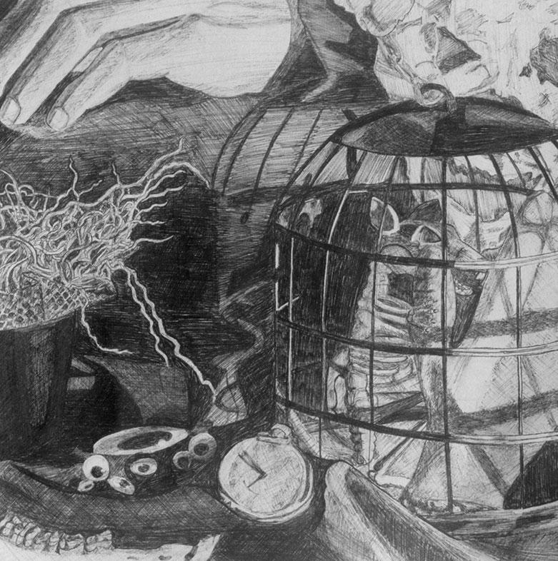 Aurelian Adams, ballpoint pen drawing