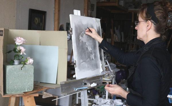 Kathleen Speranza, charcoal drawing
