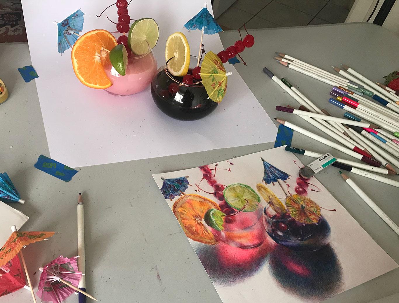 Colored Pencil Still Life, Clara Lieu