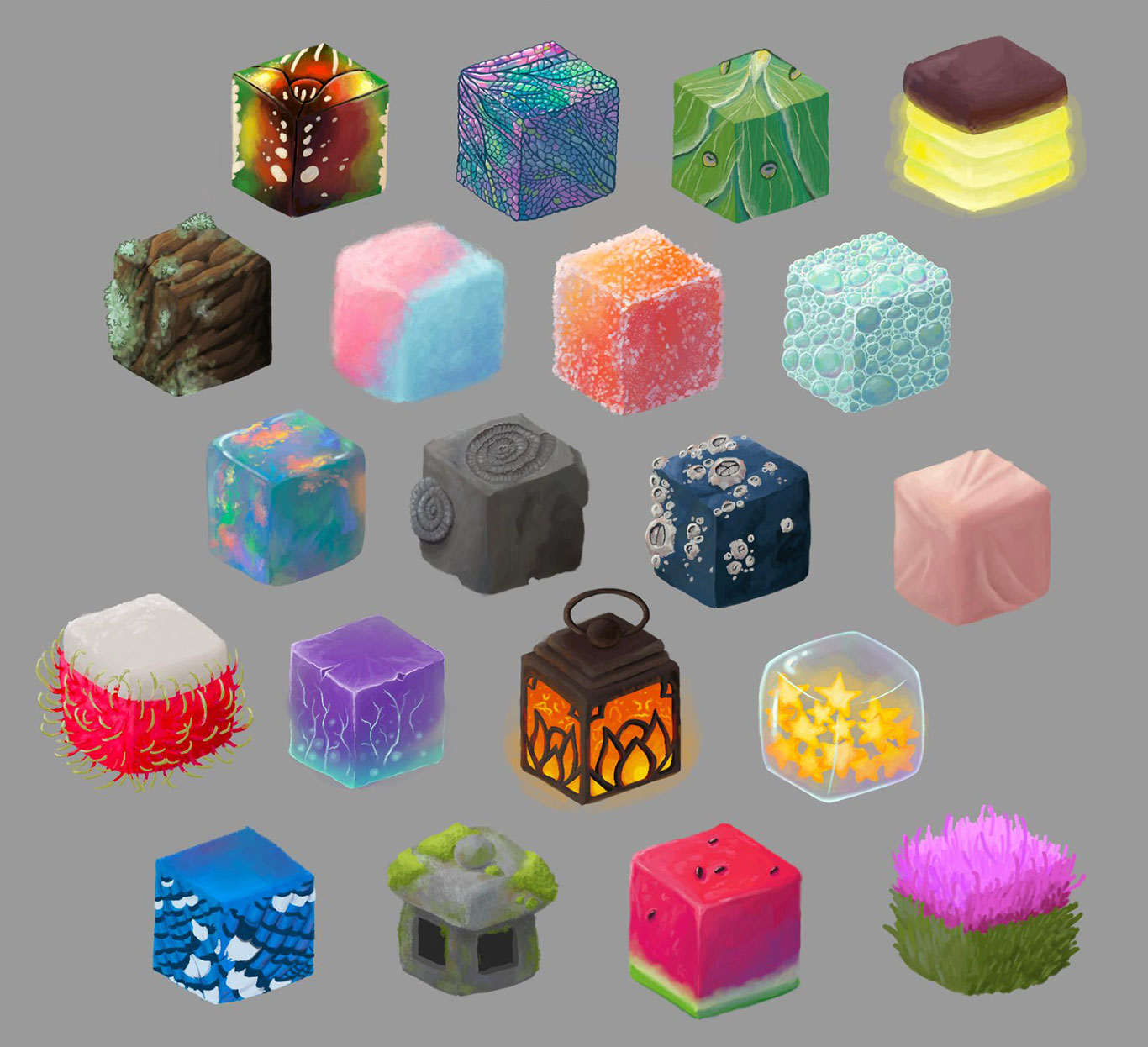 Digital Painting: Texture Cubes, Alyssa Mercado