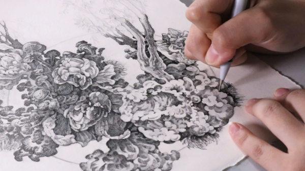 pen, ink, and pencil drawing, Song Kang
